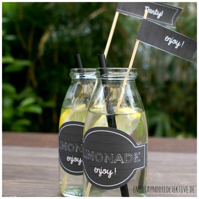 Etiketts für Limonadenflaschen