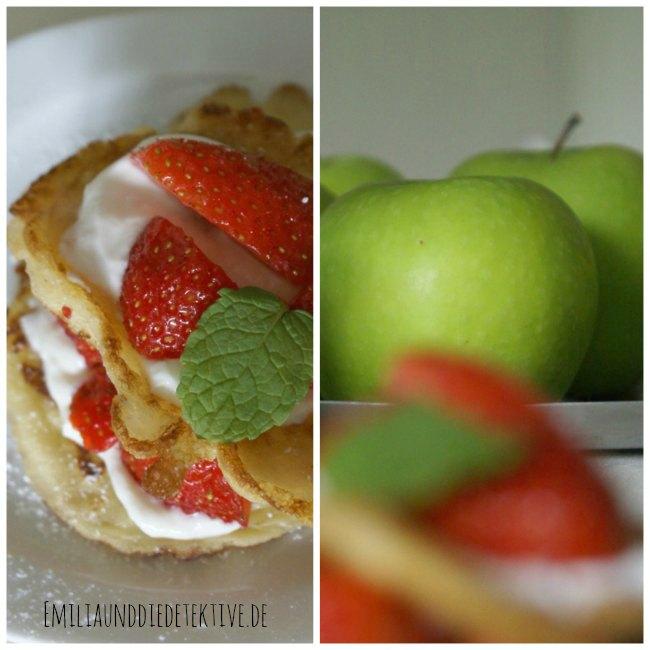 pancakes mit Apfel im Hintergrund