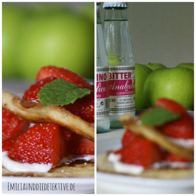 pancakes mit Erdbeeren für ein Foto aufgehübscht