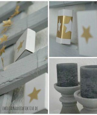 DIY Inspiration für Adventskalender  – Sterne, Gold und Holz