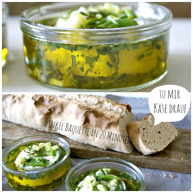 Eingelegter Ziegenkäse in Olivenöl