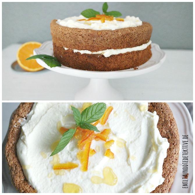 Orangen Mandel Torte spanischer Mandelkuchen mit Sahne