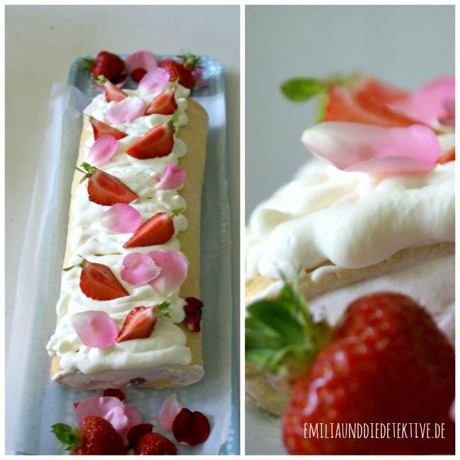 Erdbeerrolle aus Biskuit