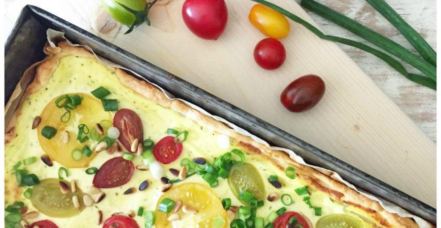 Schnelle Tomatentarte mit Ricotta Füllung